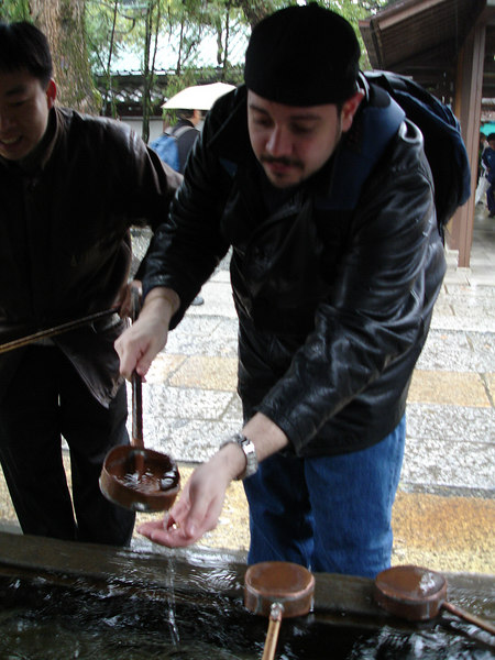Washing hands at the Daibutsu. The water is NOT for drinking.