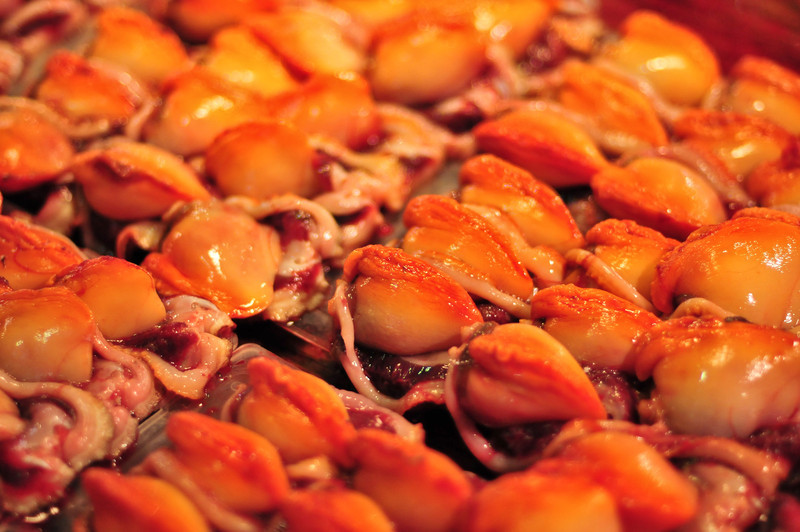 Fresh seafood  from the Tokyo Tsukiji Fish Market.