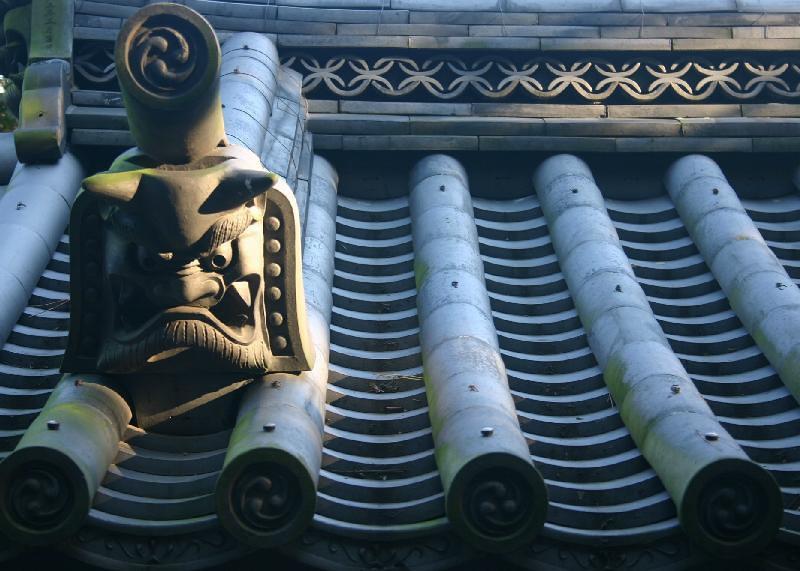 Roof tiles at Sankeien.