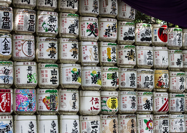 Barrels of sake (nihonshu) which are donated to the Meiji Shrine by its patrons