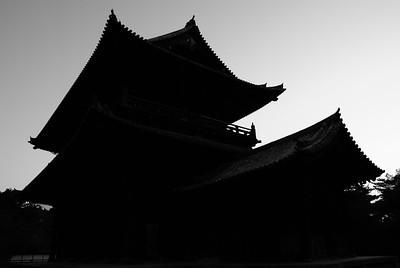 Temple silhouette, Kyoto