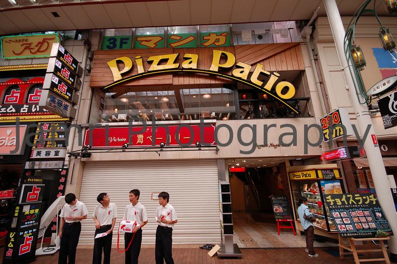 Outside the Pizza Shop, Motomachi Arcade, Kobe, Hyogo-ken, Japan