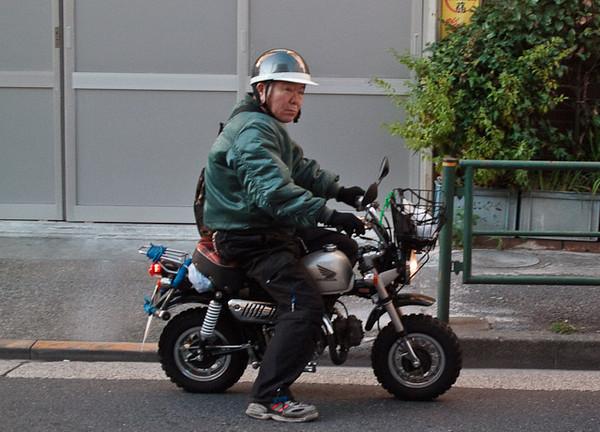 Monkey bike on the road.