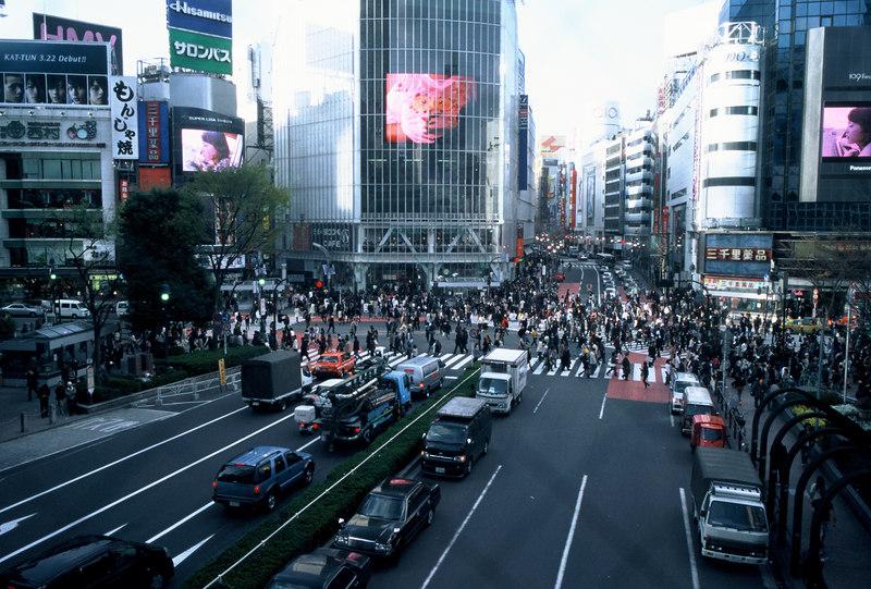 Shibuya crossing, Tokyo. I've never seen anything like it.<br /> Leica M7, 28 mm summicron asph f2. Fuji Provia 400F