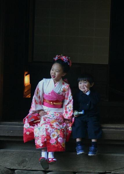 Girl in kimono at Sankeien.