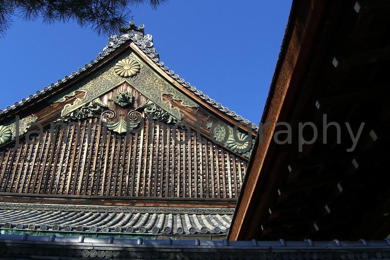 Roof top at Nijo-jo (Tokugawa's Kyoto Castle), Kyoto, Japan