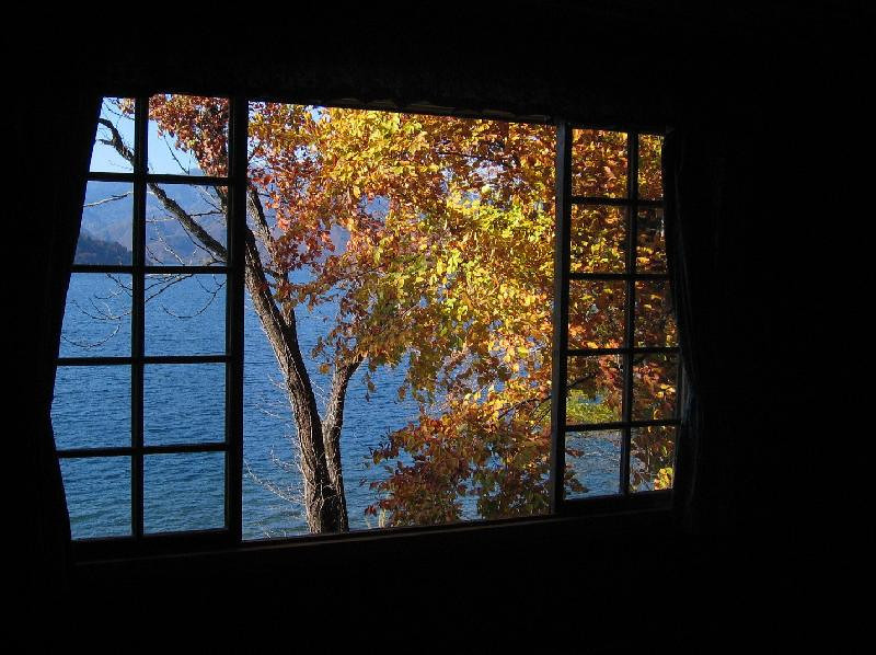 Lake Chuzenji with fall colors.