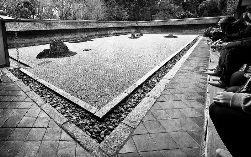 Ryoan-ji, a zen garden.