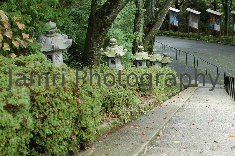Lanterns and Stairway, Hiei-zan, Shiga-ken, Japan