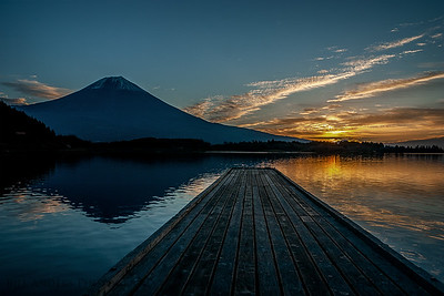 Dock at Sunrise  Mt Fuji, Japan.