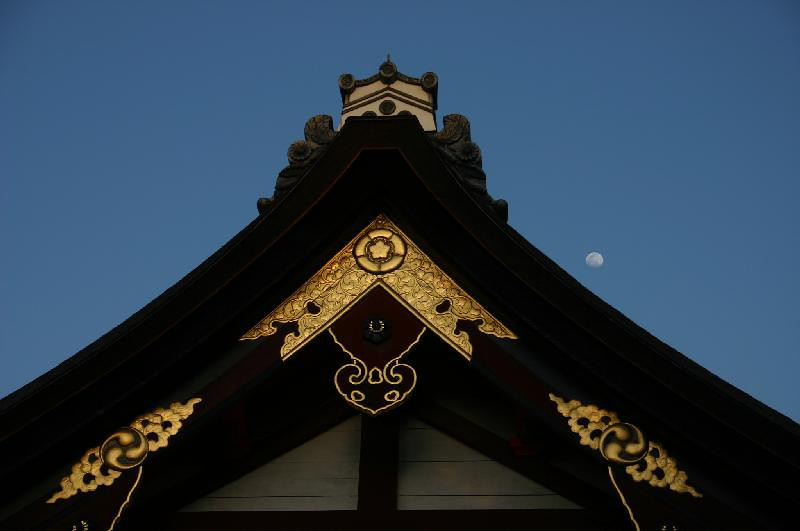 Shinto shrine with moon.