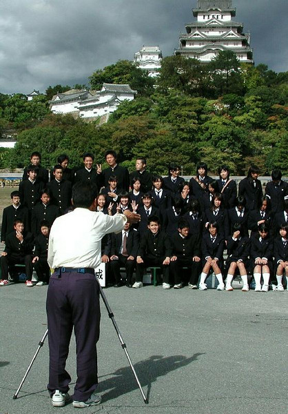 A school group at Himeji castle.