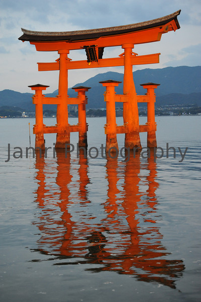 Floating Torii at High Tide Floodlit.<br /> Miyajima, Hiroshima, Japan.