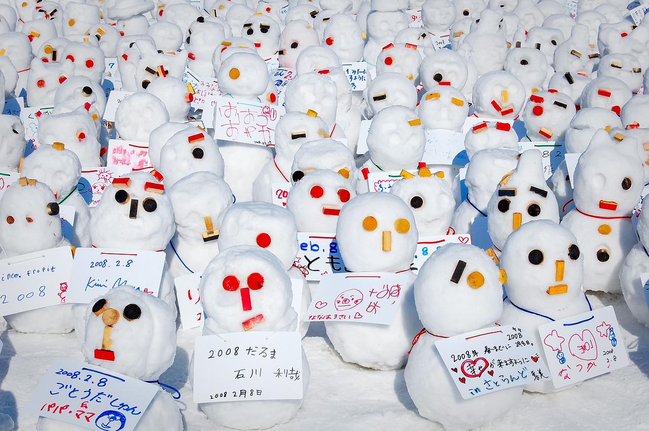 Snowmen at Sapporo Snow Festival, Hokkaido