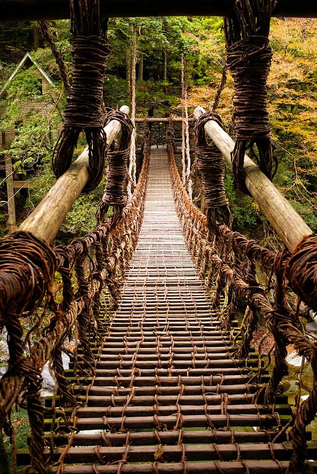 Kazurabashi suspension bridge over the Iya river (Iya Valley, Japan)