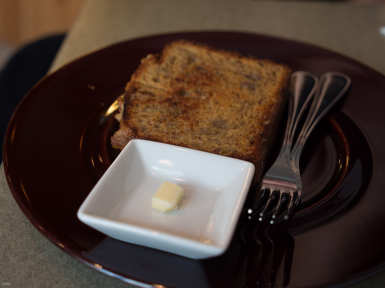 Banana Bread at the Aussie style cafe owned by a woman who studied in Oz, But look at the serve of butter! No wonder they are healthy.