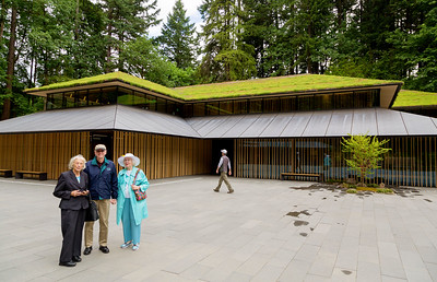 We arrive at the Japanese Garden with its vegetation-covered roofs.