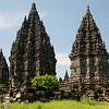 Hindu temples dedicated to Vishnu, Brahma and Shiva at Prambanan.