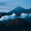 Mount Bromo, Mount Semeru and Mount Batok before sunrise, Java