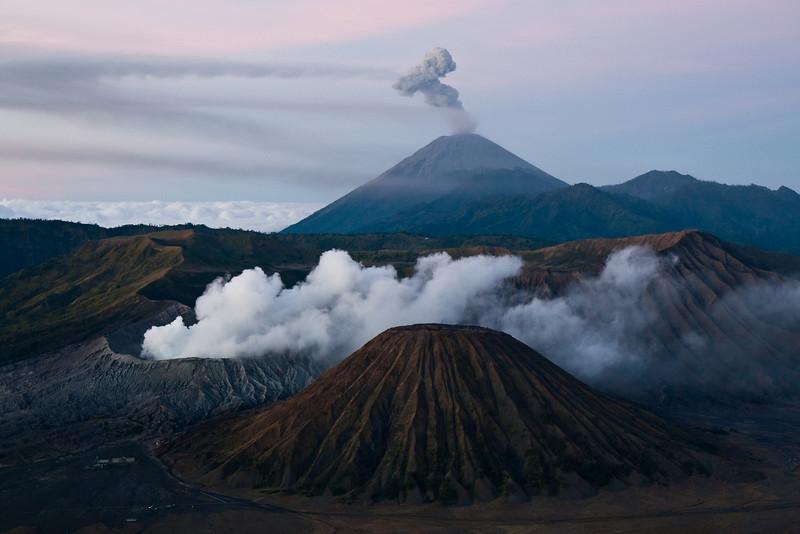 Mount Bromo, Mount Semeru and Mount Batok shortly before sunrise, Java