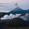 Mount Bromo, Mount Semeru and Mount Batok shortly before sunrise, Java