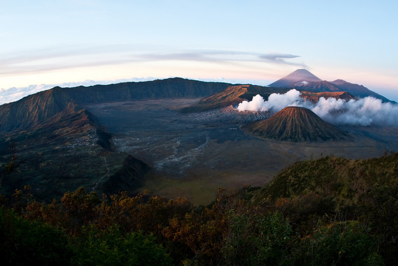 Mount Bromo, Mount Semeru and Mount Batok just after sunrise, Java