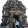 Sally and Yong posing in front of a candi at Prambanan