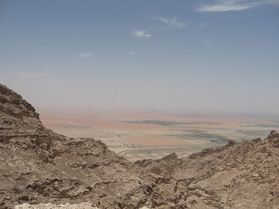 From the top of Jebel Hafeet looking over the plain and into Oman beyond.  A lovely view at night with the lights twinkling in the distance.