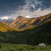 The sun setting near Sylvan Lakes, State Park in the Sawatch Mountains, Colorado.