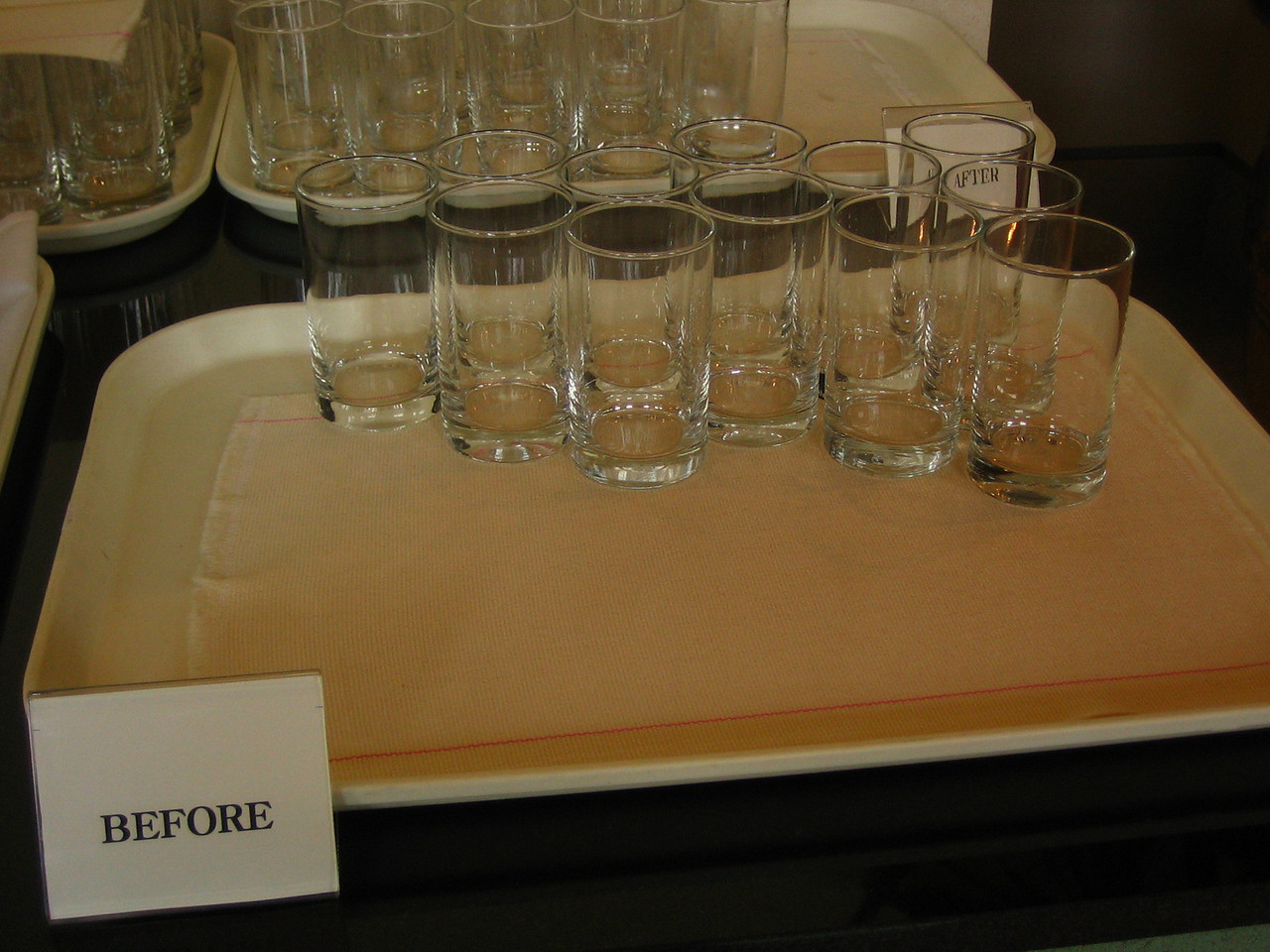 "During the conference, there was ice water and two trays of glasses: Clean & Dirty. But they were labeled ""Before"" & ""After"". I like that."
