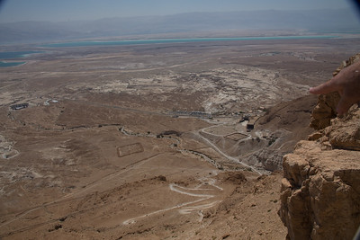 looking down from Masada, the square areas are old Roman troup encampment areas