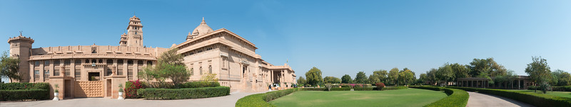 Panoramic view of Umaid Bhawan Palace (Chittar Palace). During its construction due to use of stones drawn from the Chittar hill where it is located it was called Chittar Palace. Ground for the foundations of the building was broken on 18 November 1929 by Maharaja Umaid Singh and the construction work was completed in 1943. The Palace was built to provide employment to thousands of people during the time of famine. The Palace is divided into three functional parts – the residence of the royal family, a luxury Taj Palace Hotel, and a Museum focusing on the 20th century history of the Jodhpur Royal Family.