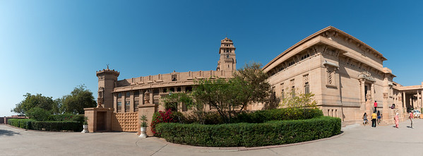 Panoramic view of Umaid Bhawan Palace (Chittar Palace). During its construction due to use of stones drawn from the Chittar hill where it is located it was called Chittar Palace. Ground for the foundations of the building was broken on 18 November 1929 by Maharaja Umaid Singh and the construction work was completed in 1943. The Palace was built to provide employment to thousands of people during the time of famine.