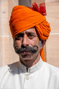 Guard at the Umaid Bhawan Palace Museum. Built by Maharaja Umaid Singh, construction  was completed in 1943.