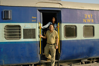 Anu (Arundhathi) & Suchit at the start of their Rajasthan trip in the train to Jodhpur, Rajasthan, Western India.