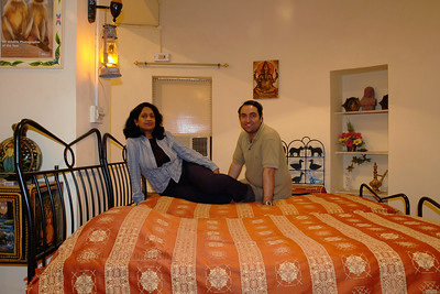 Anu (Arundhathi) & Suchit in their room in Jodhpur, Rajasthan, Western India.