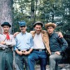 Photo was taken somewhere along the Appalachian trail near the peaks of otter fourth of July weekend 1964.  Left to right David Cassell, John Stuart Mullins, Ed Sweney, and Robert Mallis