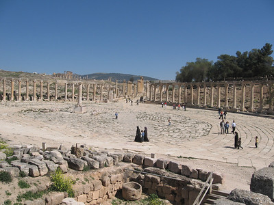 The forum at Jerash. Its 90m long and 80m wide at its widest point and it was mainly used as a market place.