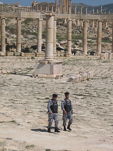 There is a high profile security presence throughout Jordan.  I like this shot because in the past there would have been Roman legionnaires walking in exactly the same place as these two modern-day soldiers.