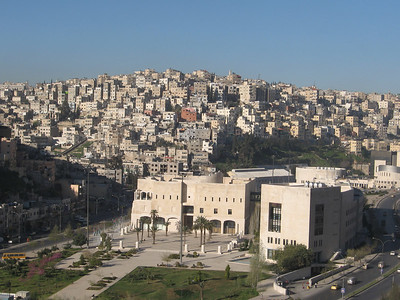 Amman, capital of Jordan with a population of 1.7 million.  Originally built over seven hills, the main areas of Amman are known by the name of the hill 'jebel' on which they are built.