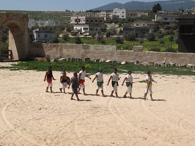 The gladiators ready for battle.  All the participants are members of the Jordanian Army or Police.