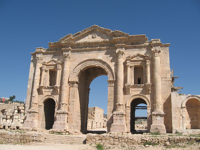 Hadrian's Gate at Jerash.  Jerash is mentioned in the Bible as Gerasa.