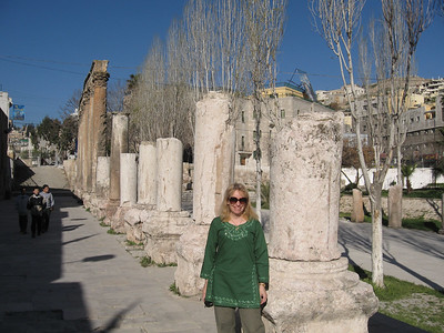 The colonade outside the Roman amphitheatre in Amman.