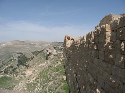 Looking along the walls at Karak.