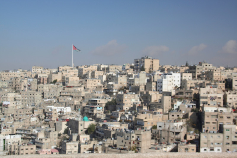 View of Amman and the Jordanian Flag (largest free standing flagpole in the world) from the Citadel hill (Jabal Al-Q'ala)