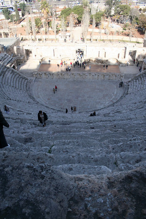 At the top and center of the theater: This is the view that the commoners would have had.