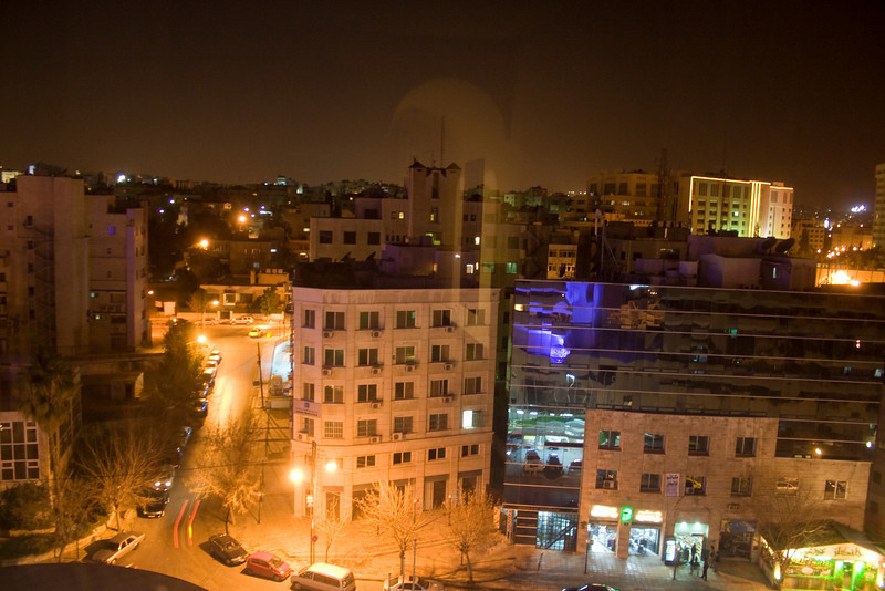 View from our hotel room at night. Le Meridian, Amman.