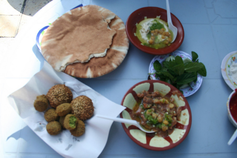 Hummus, mint, fuul, felafel and pita (which we could not resist eating).