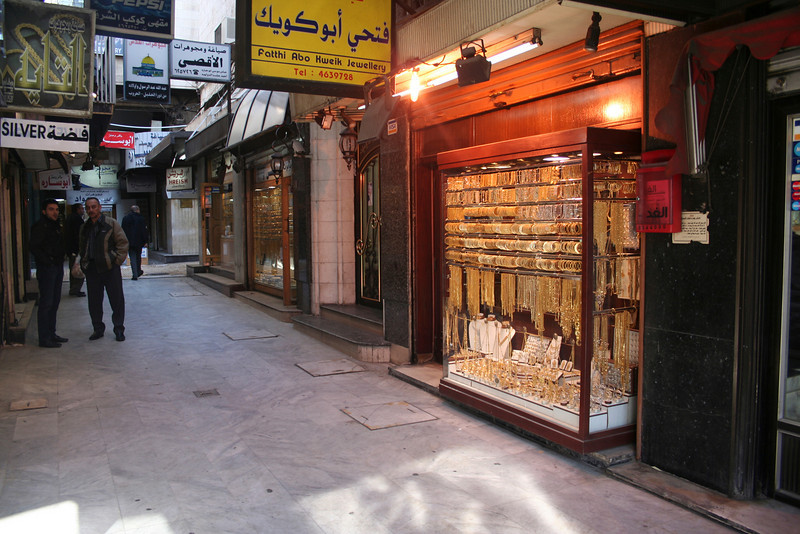 Gold souk, Downtown Amman. A lot of the downtown was empty since it was the first day of the Islamic year