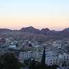 View of Petra in the morning from the rooftop of our hotel